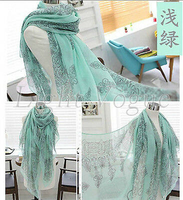 Green Women Long Print Chiffon Scarf Wrap Ladies Shawl Girls Large Scarves New