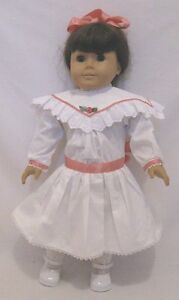 Doll-Clothes-18-034-Doll-Victorian-Dress-White-Fit-American-Girl-Doll-Samantha