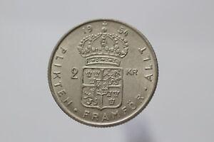 SWEDEN-2-KRONOR-1954-SILVER-NICE-DETAILS-A82-Z9619