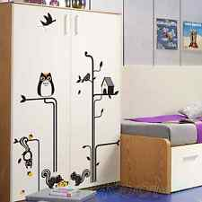 OWL BLACK ANIMAL SET NEW WALL ART STICKERS HOME ROOM PARTY DECORATION DIY DECOR