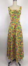 Vintage 60s 70s Flower Child Dress Maxi Floral Festival Boho Hippie Green S