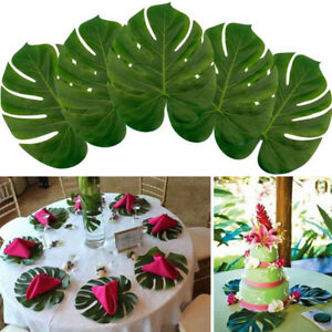 6-12-Pcs-Green-Artificial-Tropical-Palm-Leaves-Hawaiian-Luau-Party-Table-Decor
