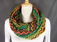 Teal Chunky Infinity Scarf Zigzag Striped Knit Circle Endless Loop Long Chevron
