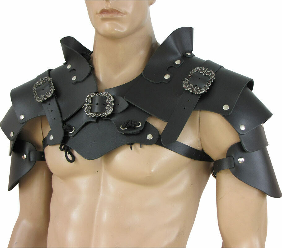 Pauldrons Armour Young Rogue Black Leather, Larps Gn