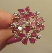 HOLD ON GIRLS! 14K YG Ruby, Pink Sapphire, Pink Tourmaline & Diamond Floral Ring