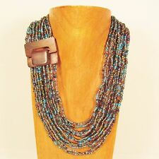 "32"" Blue Gold Multi Color Wood Buckle Waterfall Handmade Seed Bead Necklace"