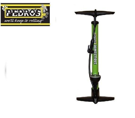 Pedros Bike Workshop Tools - Domestique Green Floor Pump With Pressure Gauge