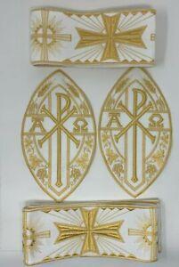 Vestment-A-amp-o-Chi-Rho-Cruz-Emblems-Banda-Oro-en-Blanco-para-Coser-6Pcs-Lot