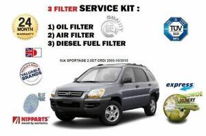 FOR KIA SPORTAGE 2.0 DT CRDi 2005-2010 NEW OIL AIR FUEL FILTER (3) SERVICE  KIT   eBayeBay