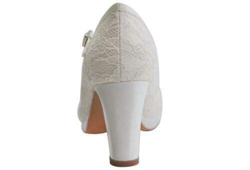 HBH Satin Brautschuhe,innen ausgepolstert,Lederriemchen,7cm Absatz ivory Frabe
