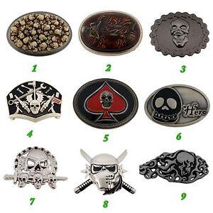Skeleton-Belt-Buckle-Skulls-Crossbones-Vintage-Silver-Metal-Mens-Womens-Gothic