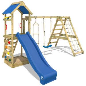 wickey starflyer portique bois aire de jeux tour d escalade balan oire toboggan ebay. Black Bedroom Furniture Sets. Home Design Ideas