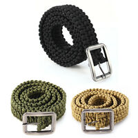 Outdoor Tactical Paracord Belt Emergency Survival Utility Cord With Metal Buckle