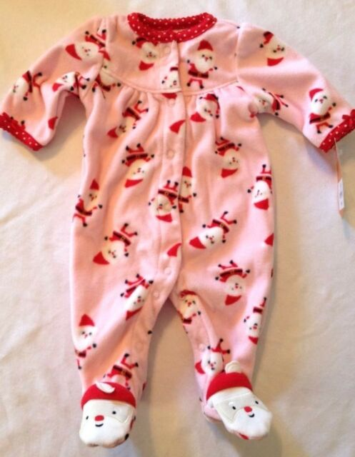 Pink Fleece Santa Footed Sleeper Size Newborn NB Carter's Just One You Christmas