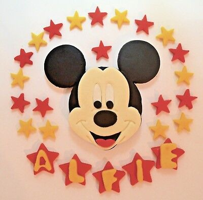 Edible Mickey Mouse Cake Topper Birthday Stars Icing Personalised  unofficial | eBay