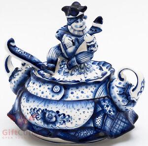 Gzhel porcelain Sugar Bowl Harlequin Buffoon handmade 600ml