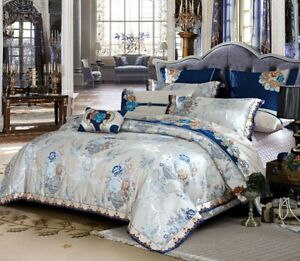 Luxury Royal Blue Silver Embroidered Satin Cotton King Duvet Cover Set 6pc 10pc