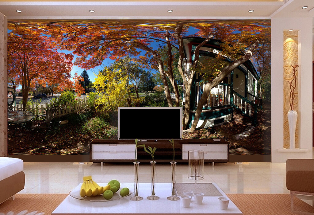 3D  sunlight house tree Wall Paper Print Decal Wall Deco Indoor wall Mural