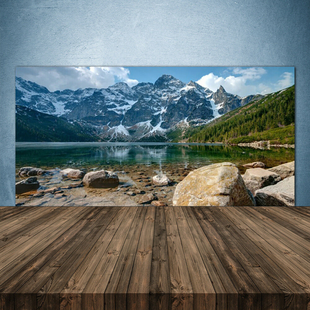 Vidrio Templado Cocina salpicaduras 140x70 bosque de montaña Paisaje Lago Piedras