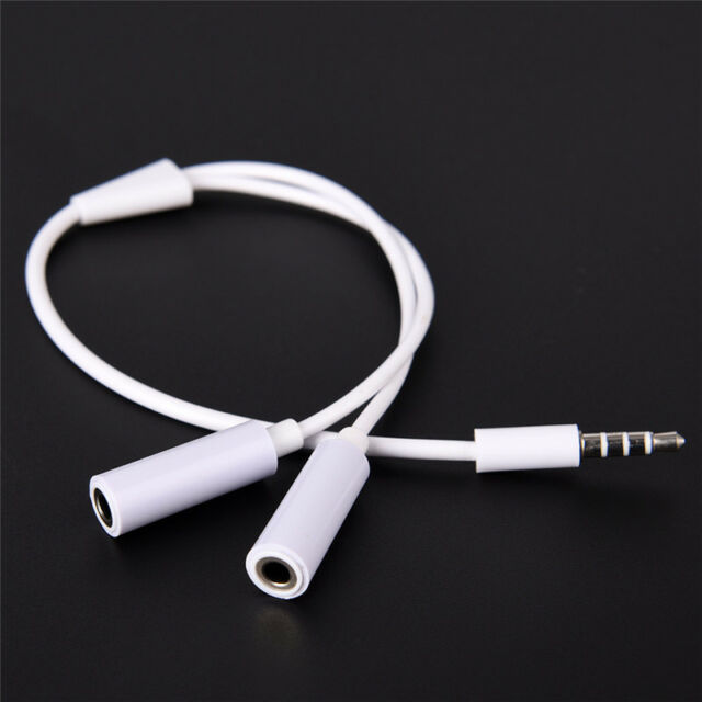 3.5mm AUX Audio Mic Splitter Cable Earphone Headphone Adapter Male To FemaleY BW