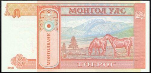2008 Sukhe Bataarl // horses on mountain pasture UNC Mongolia P61Ba 5 Tugrik