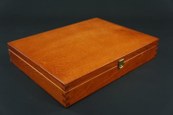 1 X Alder Wooden Jewellery Brush Case Trinket Keepsake Memory Trunk Box P27o