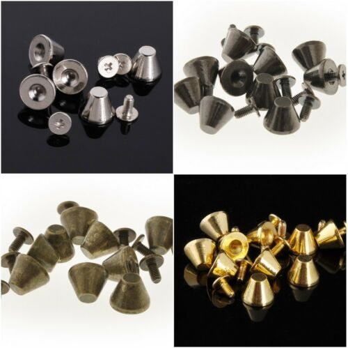 RUBYCA 8mm Big Truncated Cone Studs with Flat Top Metal Spikes DIY Leathercraft