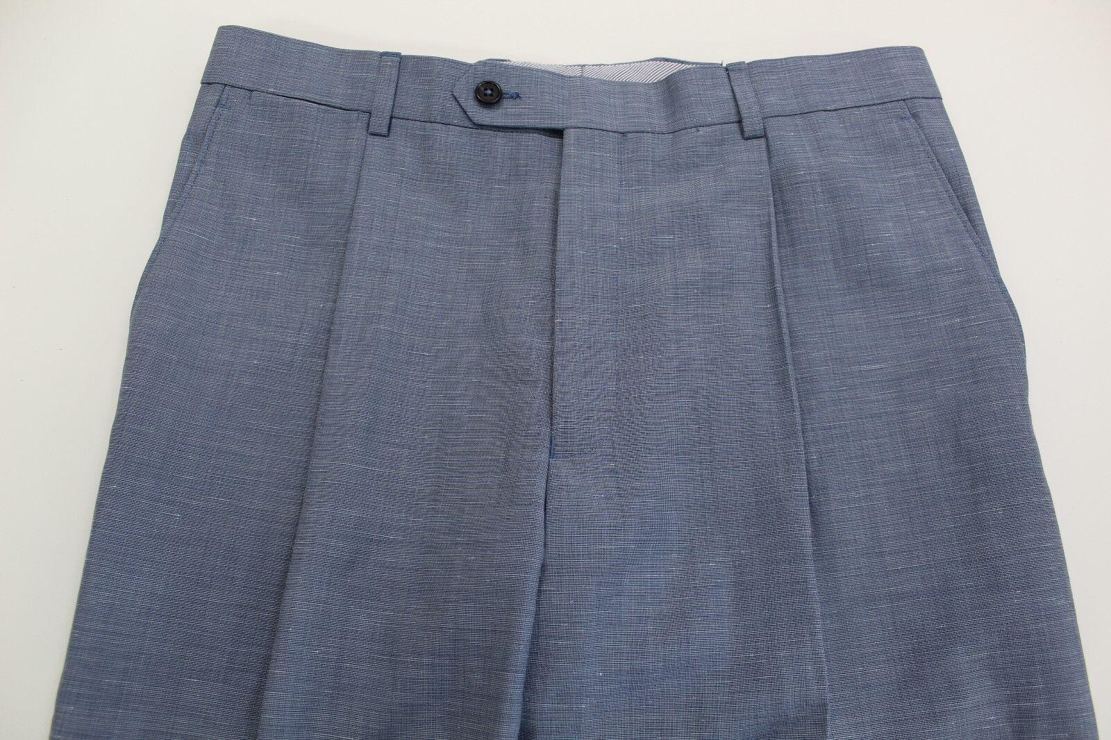 HART SCHAFFNER MARX LINEN WOOL STRAIGHT FIT FLAT FRONT MEN'S PANTS 33 bluee