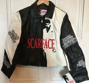 JH-Design-Vintage-Scarface-Black-White-Leather-Womens-L-Jacket-NWT