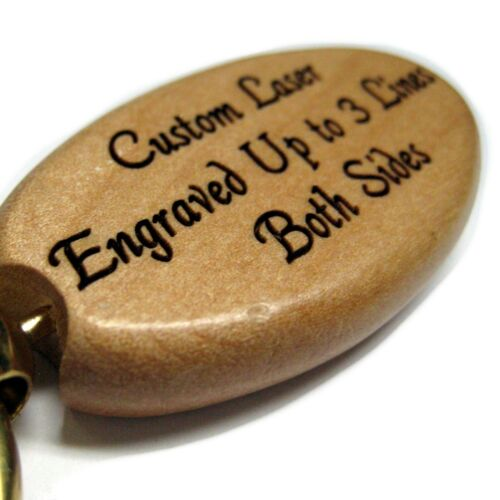 Oval Choose Circle Custom ENGRAVED Maple Wood Key Chain Rectangle or Heart