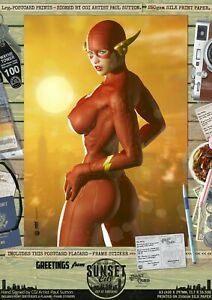 Flash-The-Flash-Ms-Sexy-039-Sunset-City-039-Comic-Series-A3-Hand-Signed-Print-Barry
