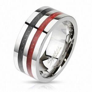 Bague-homme-acier-fibre-de-carbone-noir-rouge