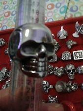 ANELLO TESCHIO acciaio misura 23 trendy bellissimo anello con teschi ring skull
