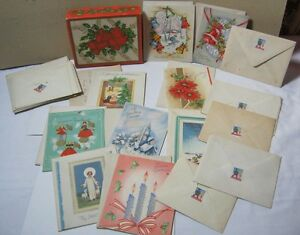 1940's Vtg. 24 French Fold Christmas Cards w/ Envelopes and Box 1945 T*
