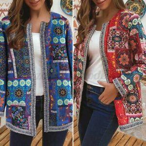 Mode-Femme-Manteau-Veste-Trench-Loisir-Coton-Manche-Longue-Imprime-Floral-Plus