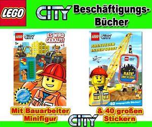 LEGO City Bücher BAU ! mit Figur + Stickerbuch BAU !