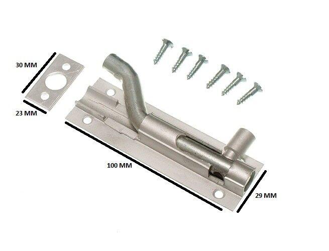 50 X 100 mm 4 in (approx. 10.16 cm) Aluminio Perno De Puerta desplazamiento de cuello de cisne + Fijaciones