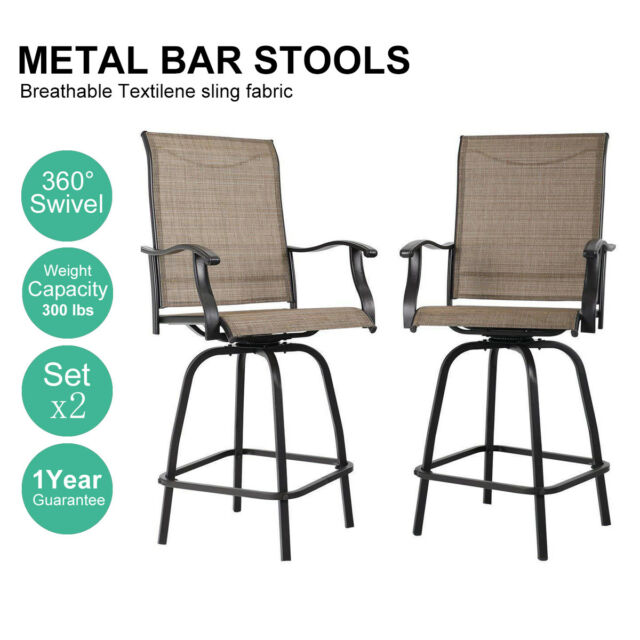 Incredible Phi Villa Outdoor Patio Bistro High Chairs Sling Swivel Bar Stools Set Of 2 Gmtry Best Dining Table And Chair Ideas Images Gmtryco