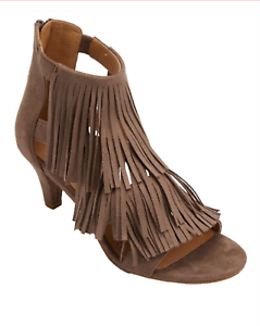 Womens Comfortview Faux Suede Fringe Shoes Heels Tamar Taupe Zip Back