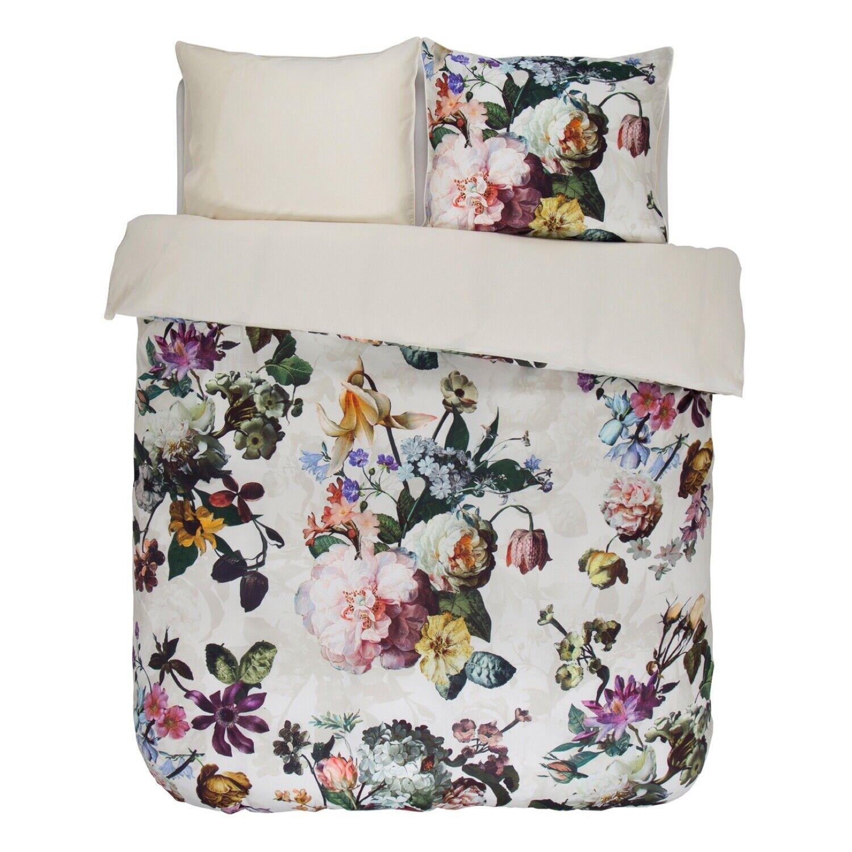 ESSENZA linge de lit Fleur Ecru Blanc Beige Fleurs Pétales Roses Plantes Satin