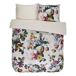 Essenza-Bettwaesche-Fleur-ecru-weiss-beige-Blumen-Blueten-Rosen-Pflanzen-Satin