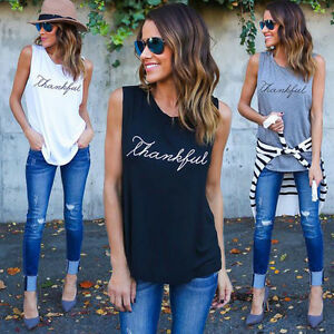 New-Vest-Sleeveless-Letter-Print-Casual-Women-Fashion-T-Shirt-Summer