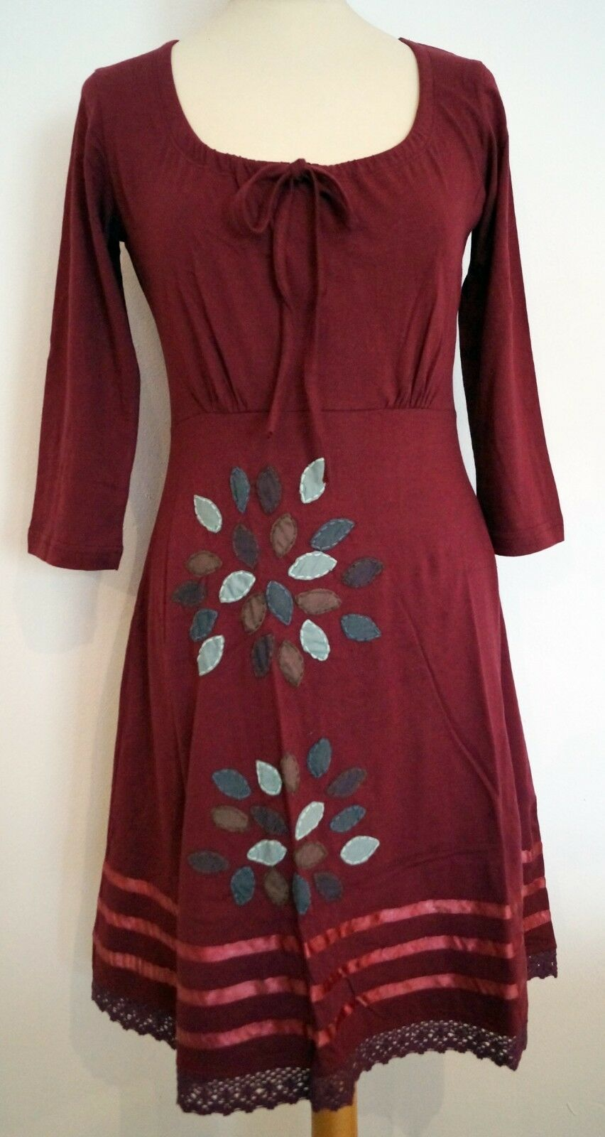 H053 Himalaya Dress Got Cotton Jersey Embroidered Appliqué Fairtrade XXL