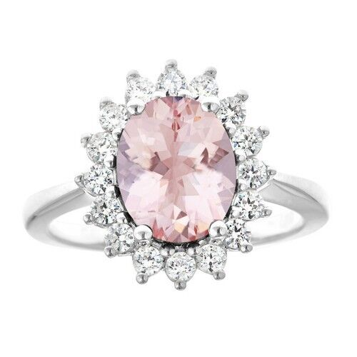 MORGANITE & DIAMOND HALO ENGAGEMENT RING OVAL SHAPE 10x8mm WHITE gold 2.81CT