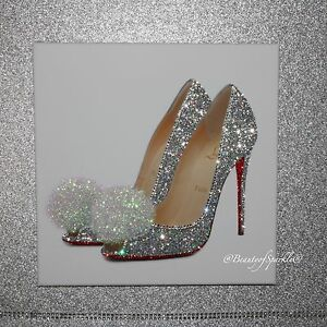Glamour sparkle silver glitter shoe canvas print wall art any size ebay - Sparkle wall decor ...