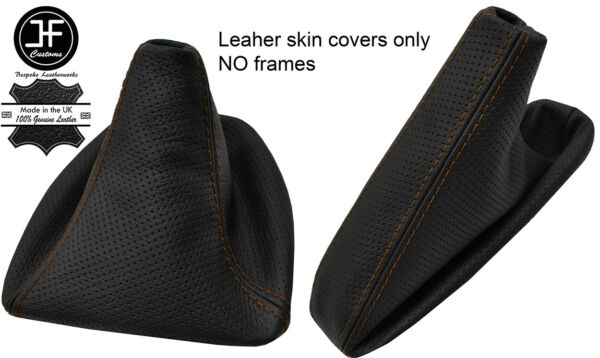 Agressief Brown Stitch Perforated Leather Gear& Handbrake Gaiter For Bmw E81 E82 E87 E88