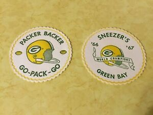 Lot-of-2-Vintage-1960-s-NFL-Green-Bay-Packers-Round-Paper-Coasters