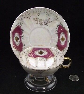 Iridescent 3 Legged Burgundy Gold Decorated Cabinet Tea Cup And Saucer Japan Ebay