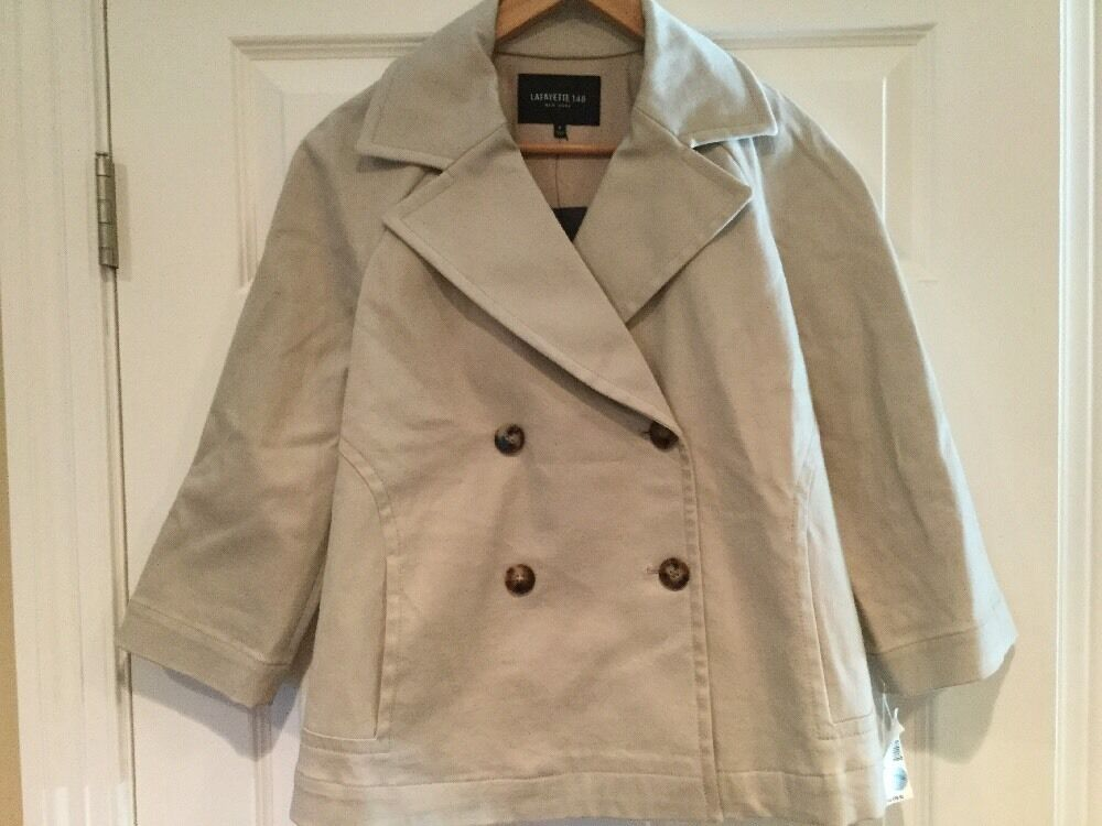 Lafayette Tan Double Breasted Peacoat, Size P NWT