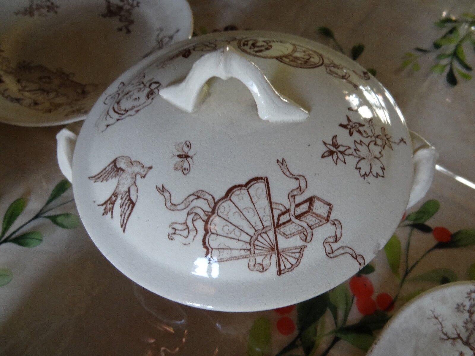 Noël Nouvel Nouvel Nouvel An, sortez vous-même Ancienne dinette faïence fin XIXe décor japonisant luneville badonviller d8f06f